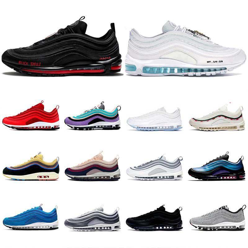 max 97 العلامة التجارية OG SE سادة MSCHF س الأحذية INRI يسوع رجل التنس النسائية المدربين الثلاثي الصورة الأبيض جميع الأسود مهزوم UNDFTD الزيتون قوس قزح أحذية رياضية