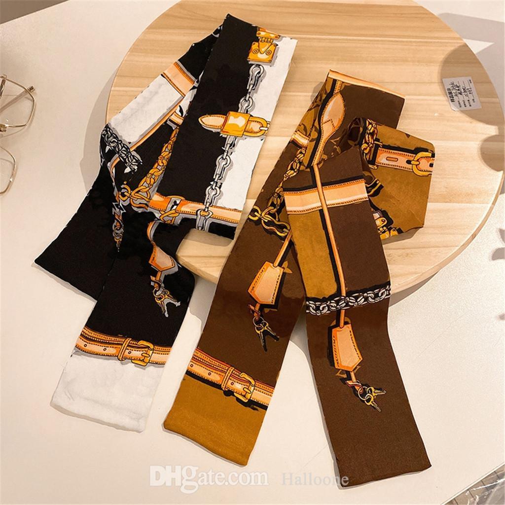 클래식 브랜드 핸드백 스카프 머리띠 여성 디자인 편지 갈색 핑크 블루 옛 꽃 디자이너 스카프 가방 실크 스크린 Bandeaux 가방 고급 헤어 Bandeau 8x116cm