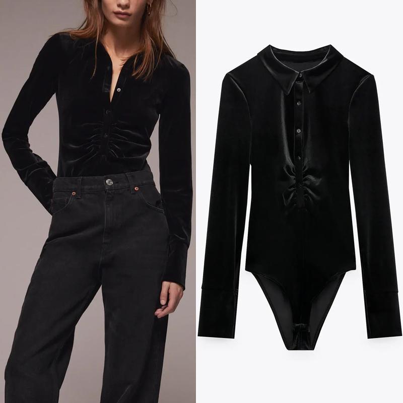 Vintage Black Velvet Body Body Femmes ZA Automne Hiver Mode Collarée Ruchée Mesdames élégantes Sexy Manches Longues Body Top 210517