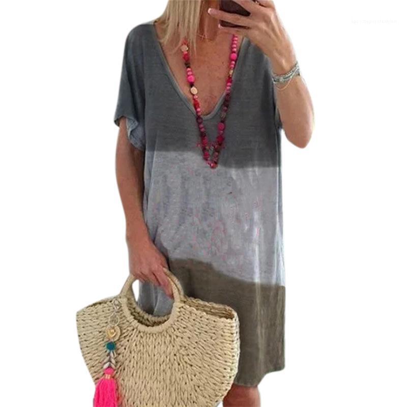 الأكمام فضفاض colorblock الأزياء شيرت اللباس famale عارضة الملابس النسائية الخامس الرقبة مخطط اللباس قصيرة