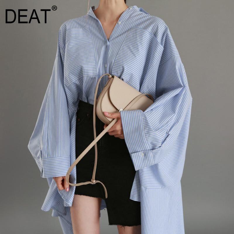 Women's Blouses & Shirts DEAT 2021 Fashion Women Clothes Turn-down Collar Asymmetrical Stiped Loose Bat Sleeve Lantern Big Size Shirt WB1560