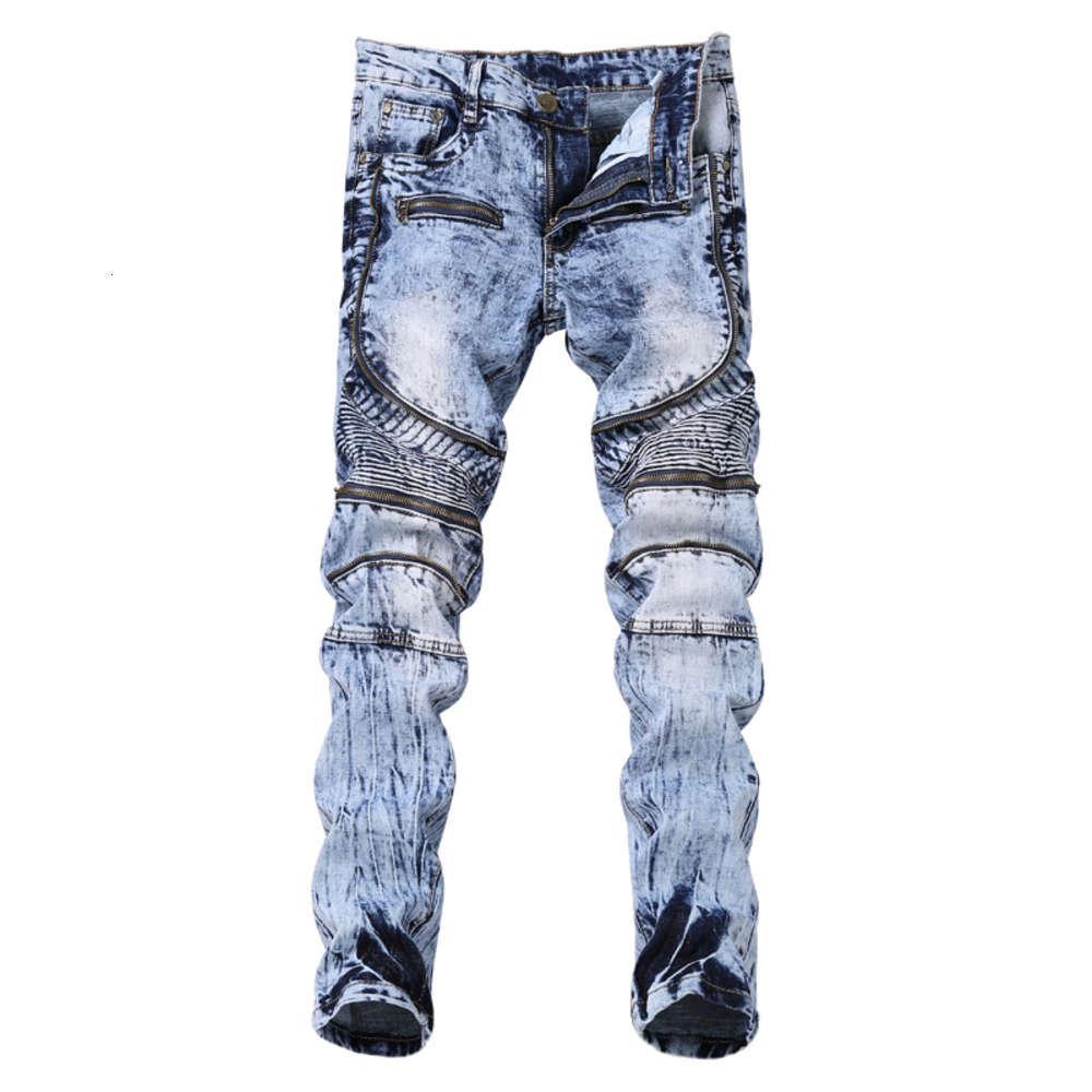 Mode-Stil-High Street männer motorradhose gefaltete dünne dichtes elastische fuß multi zip männer jeans