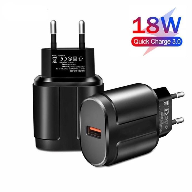 18W USB зарядное устройство Быстрый ЕС US зарядка зарядки для Xiaomi iPhone 12 Pro Max Huawei Samsung Wall Mobile Phone Adapter