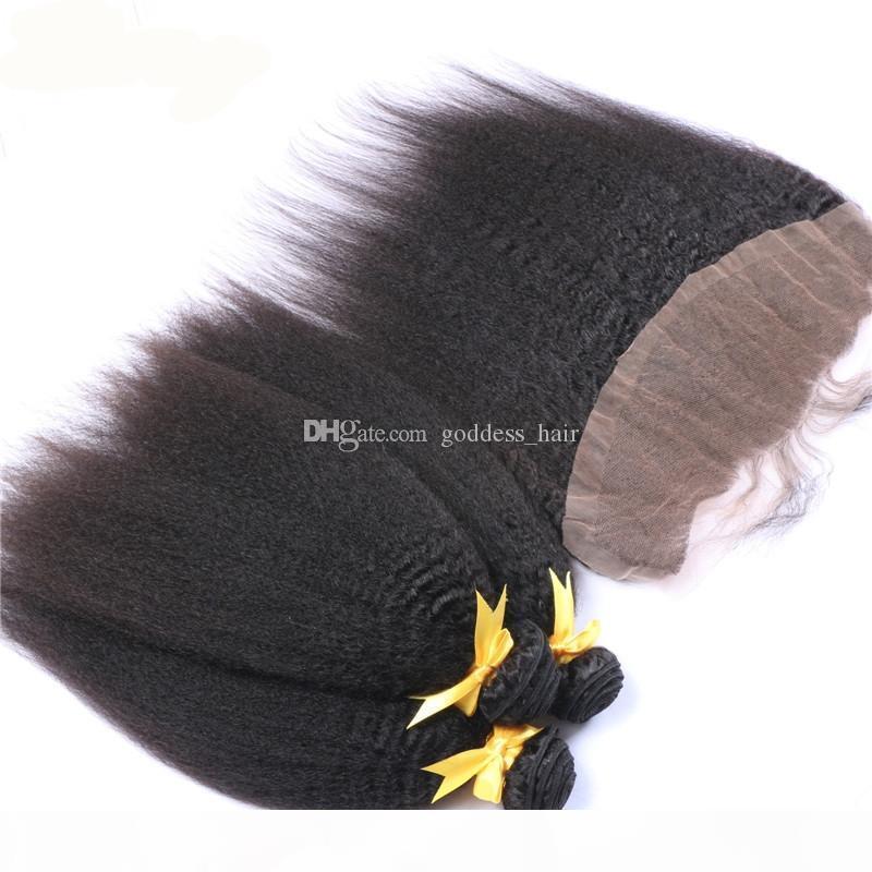 9A Cierre frontal de encaje recto brasileño brasileño con 3 paquetes de cabello humano, yaki grueso con oreja a oreja, cierre frontal de encaje 4pcs lote