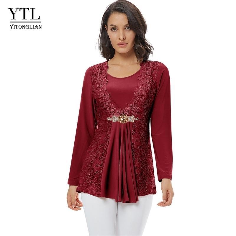 Ytl plus size donne camicetta elegante diamante pizzo tunica tunica top casual vintage top manica lunga camicia a maniche lunghe rosso nero xxl xxxl 4xl 8xl h025 210317