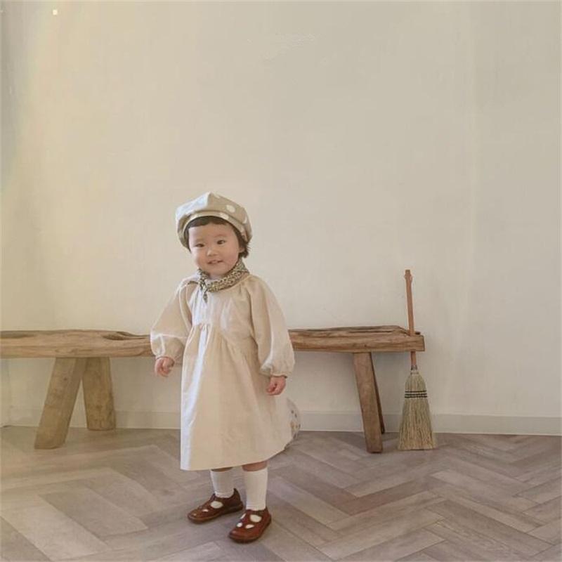 DB Neueste Ins Kleines Mädchen Organische Leinen Baumwolle Kleider Langarm O-Kragen Leeres Beige Grau Kinder Mädchen Casual Princess Kleid 539 K2