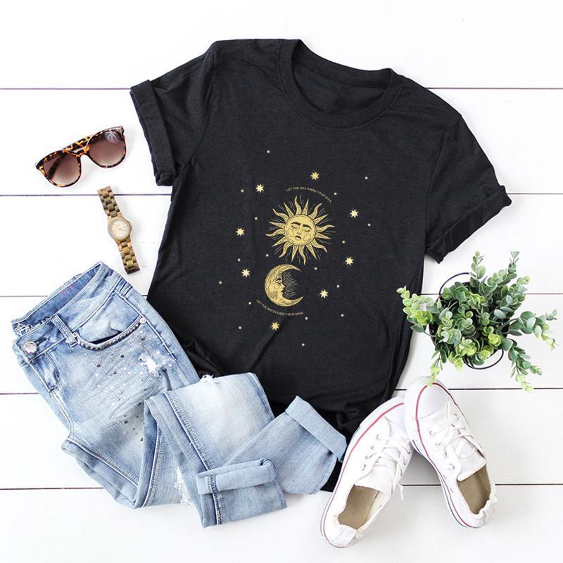 Harajuku estetik kadın tshirt güneş ay baskı gevşek O boyun kısa kollu 100% pamuk femme rahat moda yaz kadın t-shirt tops