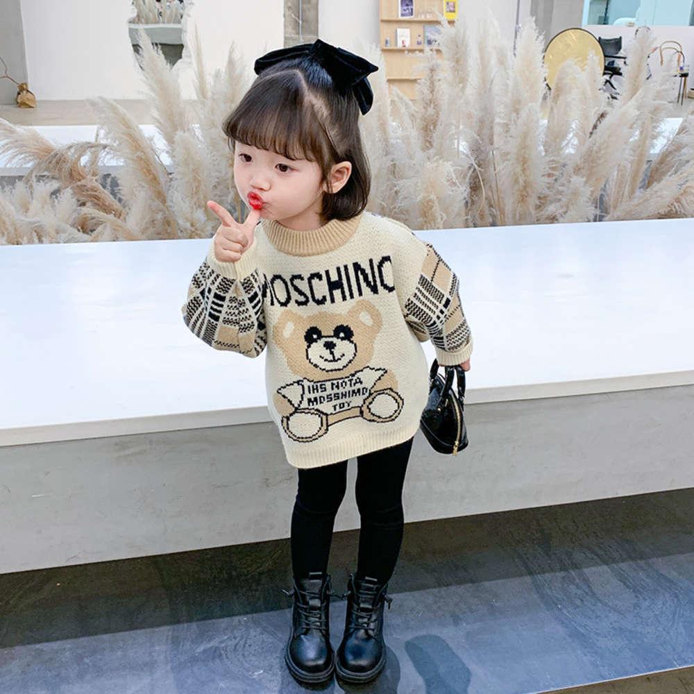 Kids LessAutumn Winter Hiver Drys Baby Baby Dessin animé Bear Pull Pull Sweat Chemise en tricot d'enfants
