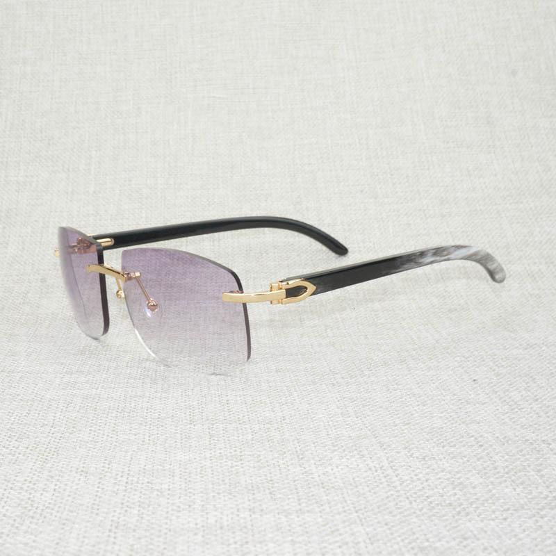 Sunglass Vintage Siyah Beyaz Buffalo Boynuzu Boy Güneş Gözlüğü Erkekler Doğal Ahşap Shades Sürüş Açık Ocak Oculos Gafas NV5X için Çerçevesiz Gözlük