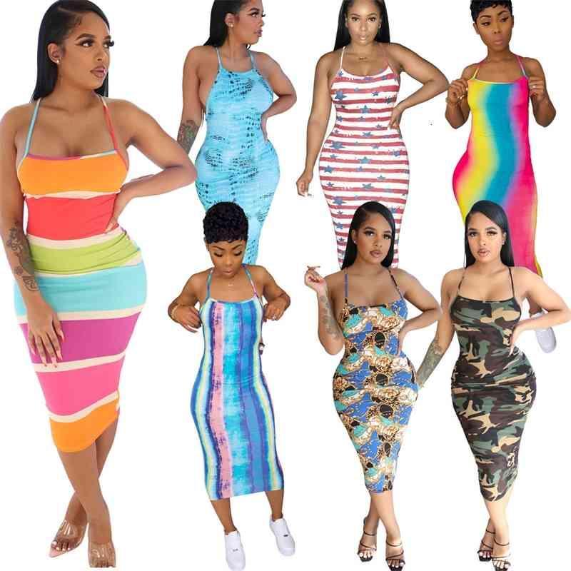 여성 드레스 웨이터 민소매 섹시한 인쇄 서스펜더 백리스 레오파드 넥타이 염료 다채로운 패션 숙녀 드레스 2021