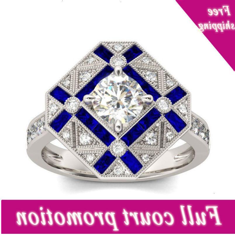 Boyutu 6-10 En Çok Satan Vintage Moda Takı 925 Gümüş Dolgu Trapezium Beyaz Mavi Zirkonya Kadınlar Düğün Band Yüzük Zehir Vaati
