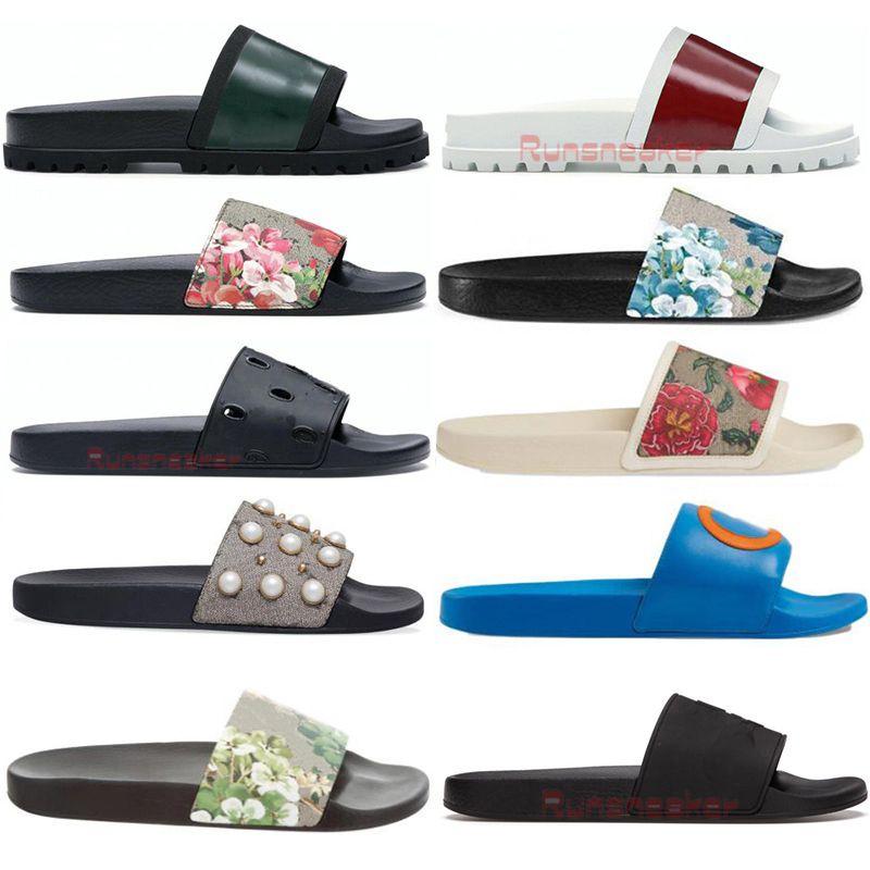 Con caja Sandalias para mujer Moda Diseñadores Diapositivas para hombre Sandalia resbaladiza plana ancha de goma Chanclas Zapatillas Brocado al aire libre de verano Mocasines
