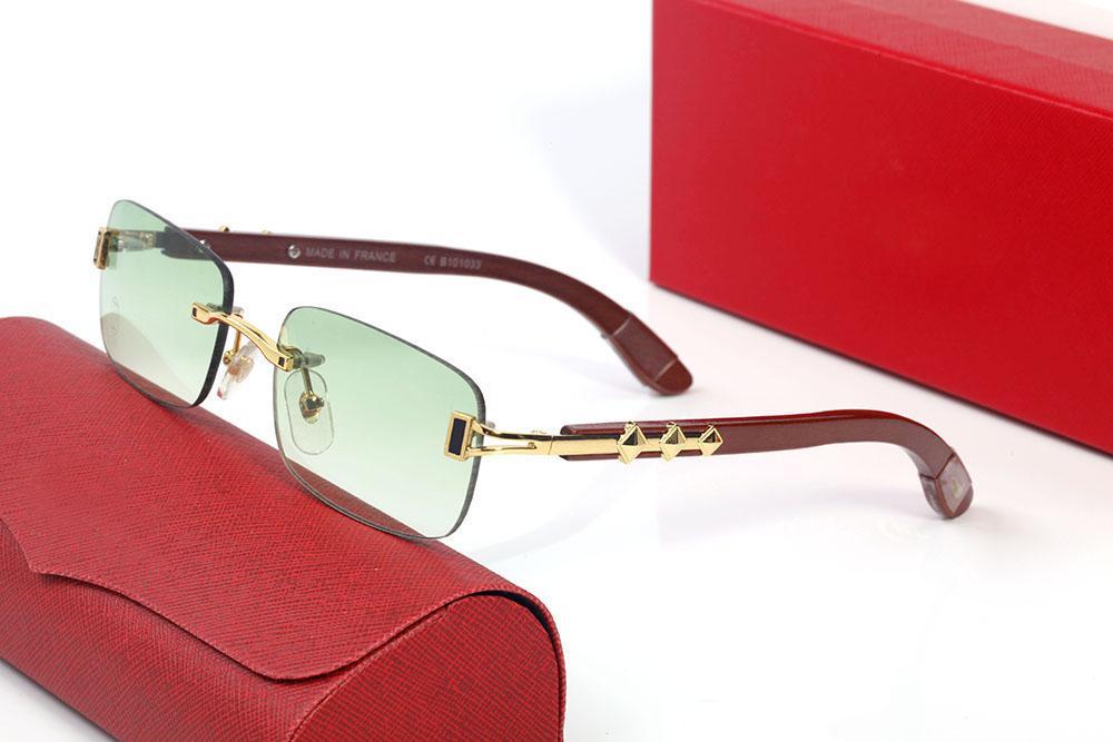 Lunettes de soleil en bois en bois en métal masculin et femmes lunettes de fond en panne de style de conception maître de haute qualité adapté à toutes sortes de visage avec boîte d'origine