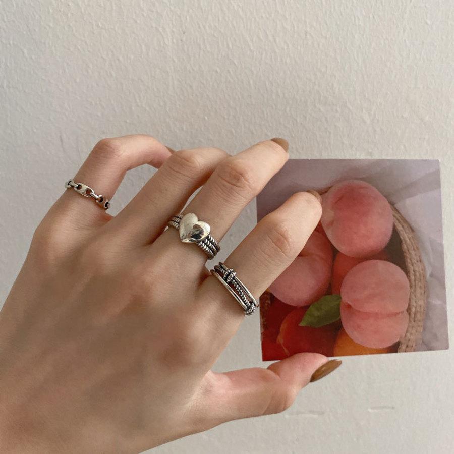 Corea del Sur Dongdamen Love P Cerdo nariz Horseshoe Anillo Femenino Índice Finger S925 Silver Fashion Personalidad Niche Design K3Hz