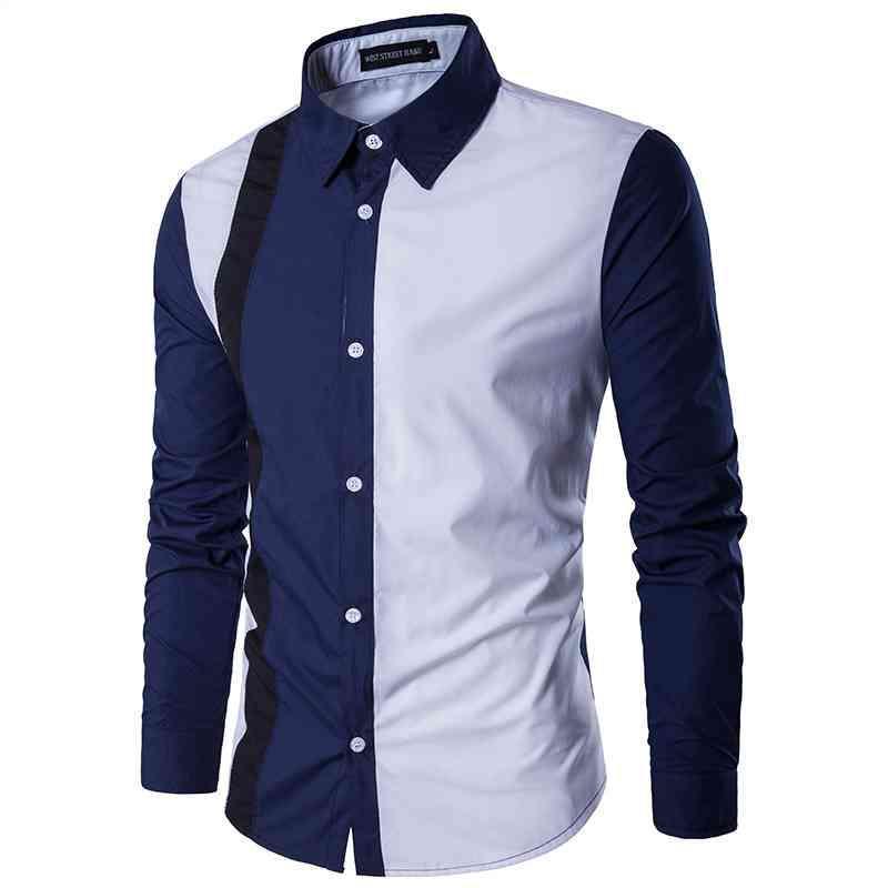 셔츠 봄 남자 옷깃 셔츠 캐주얼 슬림 피트 십대 긴 소매 패션 세련된 옷 남자