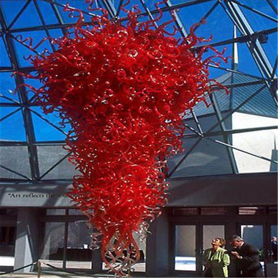 빨간색 화려한 펜던트 램프 무라노 유리 Dale Chihuly 예술 그레이트 홀 조명 대형 크리스탈 샹들리에