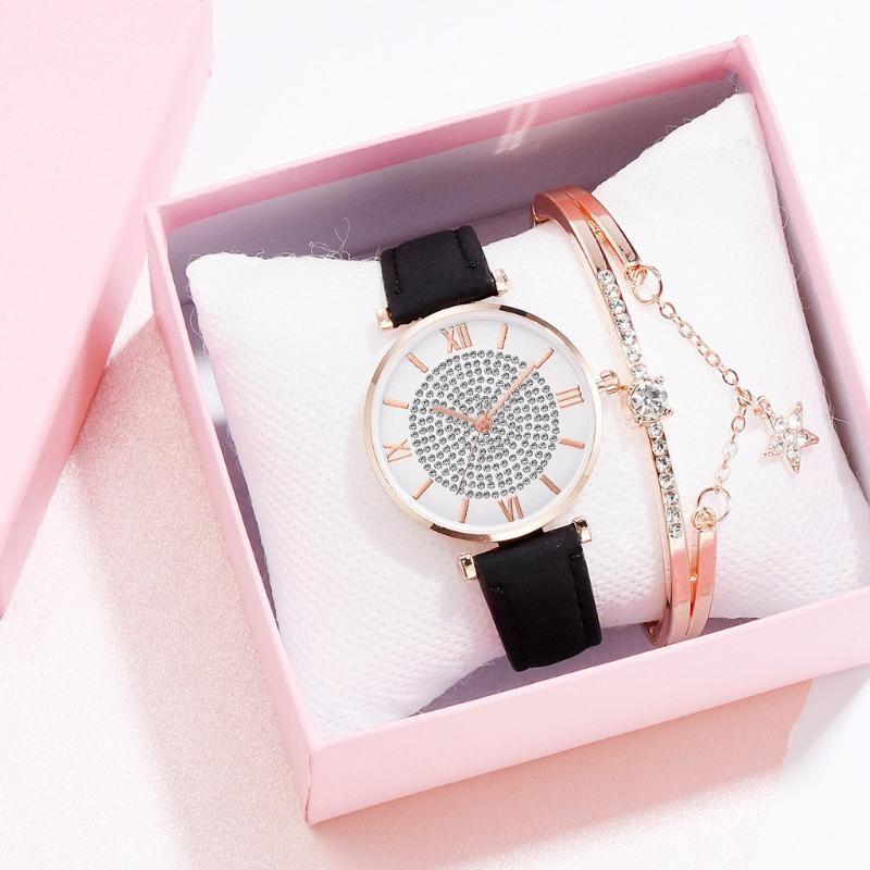 Armbanduhren 2 Stück Rhinestone Weibliche Uhr Lässige Mode Frauen Luxus Freizeit Set Schneckenleder Edelstahl Quarz A3784