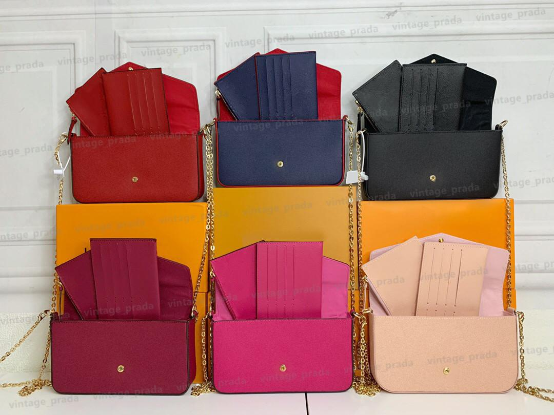 3 piezas Marca de lujo Diseñador de lujo HOBO WOMBS BOLSA BOLSA Moda Cadena de plata Tote Clutchbag Crossbody Bolsos Bolso Pochette Felicie Bolsos extraíbles Monederos