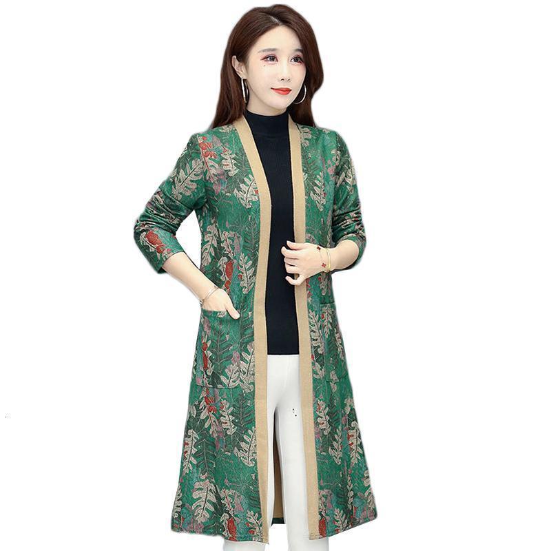 봄 여성의 윈드 브레이커 재킷 중간 길이 오버 - 무릎 의류 카디건 플러스 사이즈 5XL 인쇄 된 여성 코트 L156 트렌치