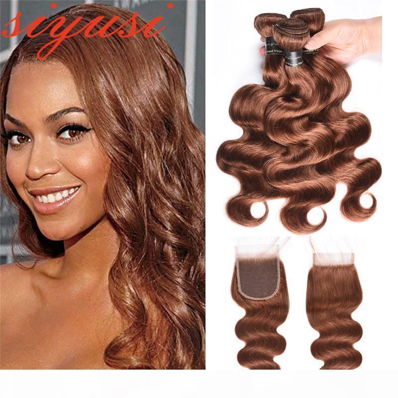 Brazilian Hair Weave 3 pacotes com fecho duplo cor 30 # 27 # onda corporal pacotes de cabelo humano com fecho macio remy cabelo