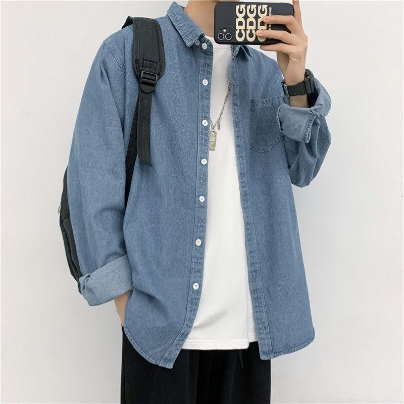 봄 가을 남성 셔츠 긴팔 바닥 셔츠 레트로 옷깃 데님 느슨한 캐주얼 재킷 의류 모든 일치 탑 M-2XL 남자