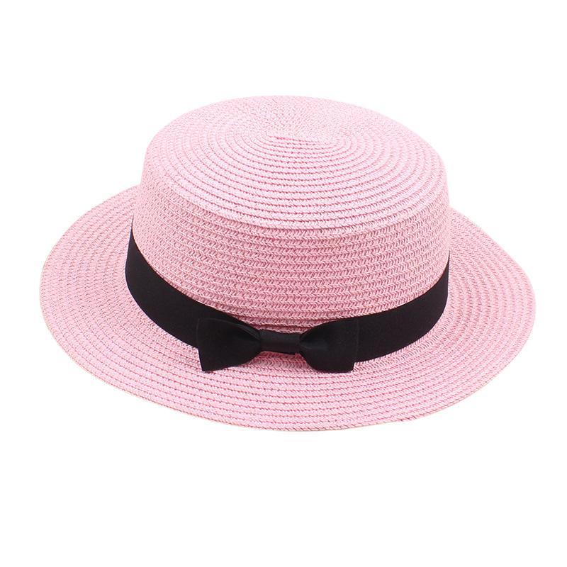 Strandhut Plain Bowknot Strohhüte Reine Farbe Sonnencreme Sommer Sunhat Reise Outdoor Caps Britischer Stil GWA7052