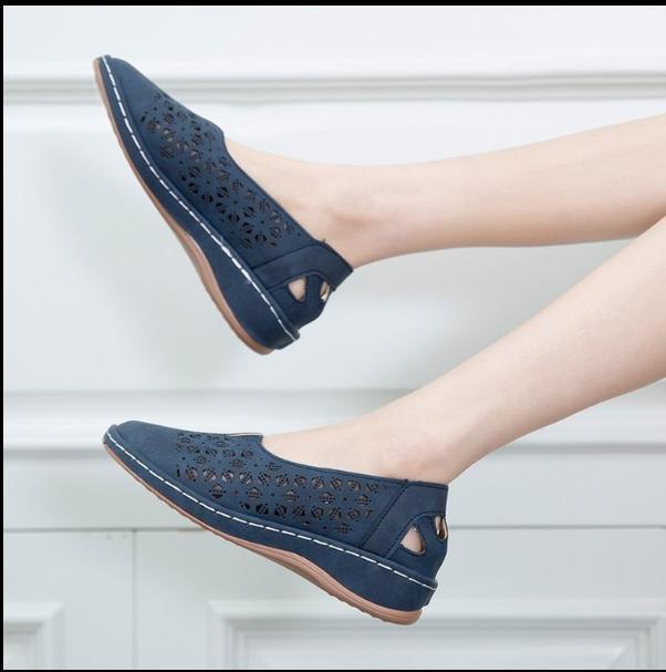 Mujer cuero vintage sandalias femenino ahueca hacia fuera cuñas plataforma zapatos más tamaño mujer resbalón de verano en mocasines retro