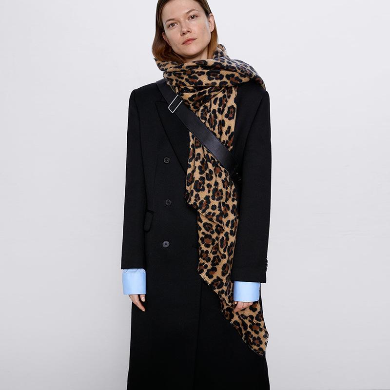 Pobing Sciarpa invernale Donna Leopardo Stampa Leopardo morbido cashmere Sciarpe Involucri Sciambia Scialle AddShen Warm Poncho Poncho Unisex Basic Blanket Pashmina