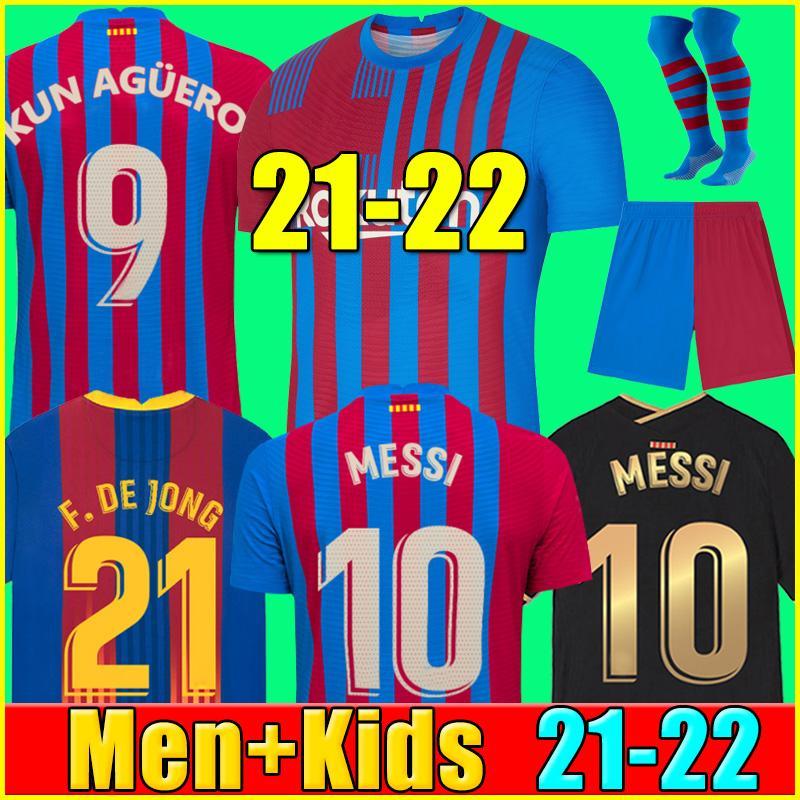 21 22 camiseta de fútbol del FC Barcelona BARCA KUN AGUERO MESSI 2021 2022 ANSU FATI GRIEZMANN F.DE JONG DEST COUNTINHO camiseta de fútbol kit hombres + niños conjuntos calcetines