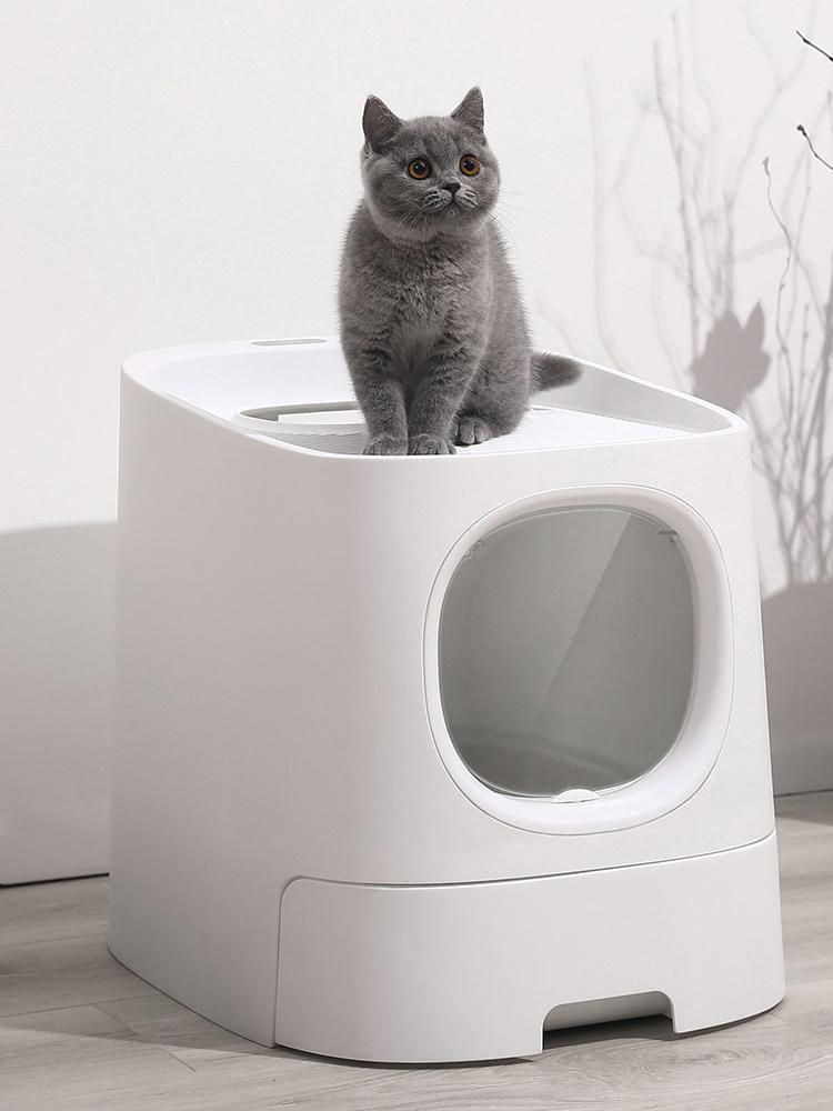 Diğer Kedi Malzemeleri Akıllı Çöp Tepsi Tuvalet Kutusu Yarı Kapalı Otomatik Koku Koku