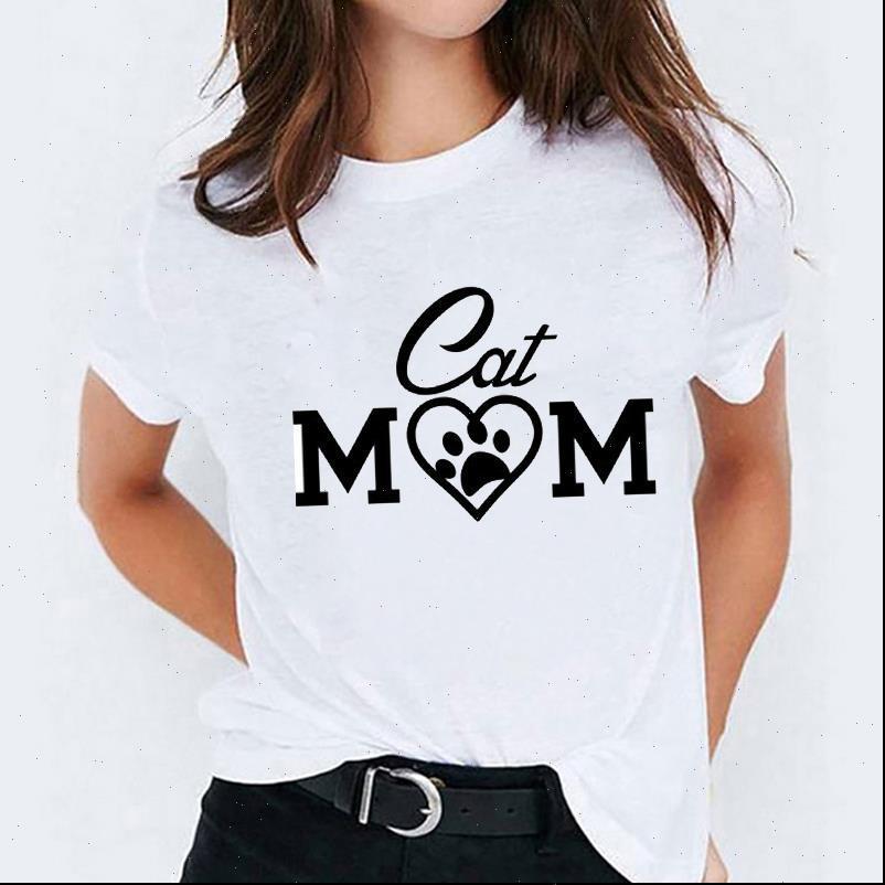 그래픽 편지 고양이 엄마 귀여운 여성 티셔츠 패션 의류 트렌드 인쇄 티