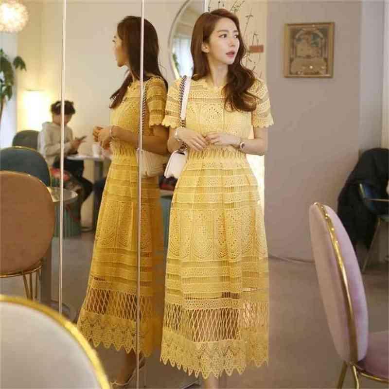 Frauen Elegant Gelb Spitze Kleid Sommer Stil Kurzarm Aushöhlen Reizende Kleidung Lässige Weibliche Party Midi Vintage 210603