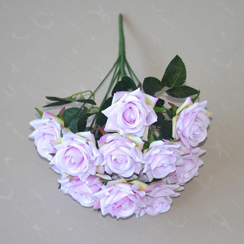 12 cabeças artificiais flores rosas buquê rosas de seda para casa nupcial festa de casamento festival decoração de decoração e rosa gga4357