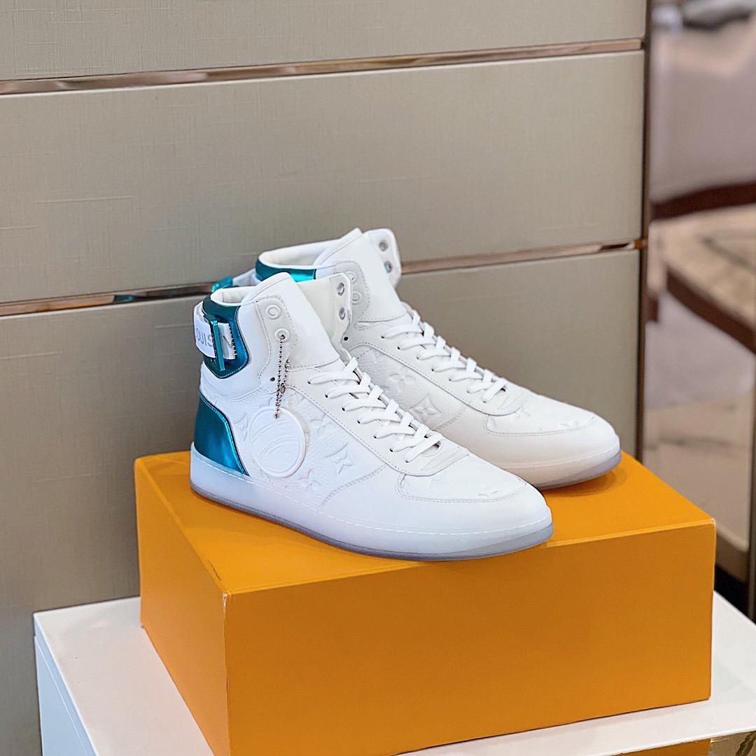 En Kaliteli Lüks Tasarımcı Ayakkabı Rahat Sneakers Nefes Dalf Skin Ekleme Kumaş Kutusu Ile Yüksek Yan Tasarım Boyutu38-45