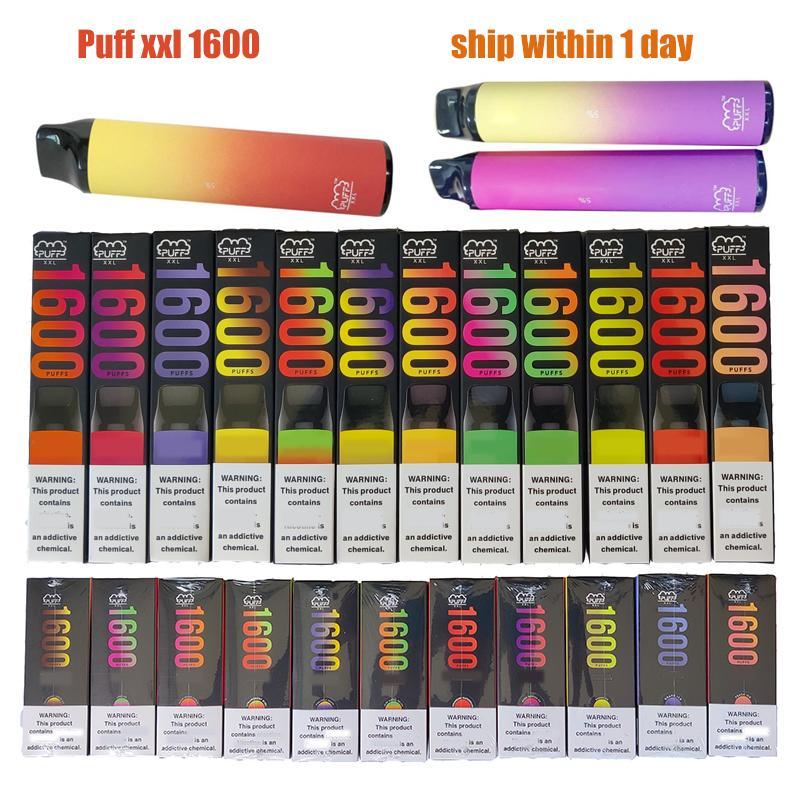 퍼프 바 XXL 1600 일회용 vape 펜 전자 담배 1000mAh 배터리 6.5ml 용량 Pods 장치 기화기 키트