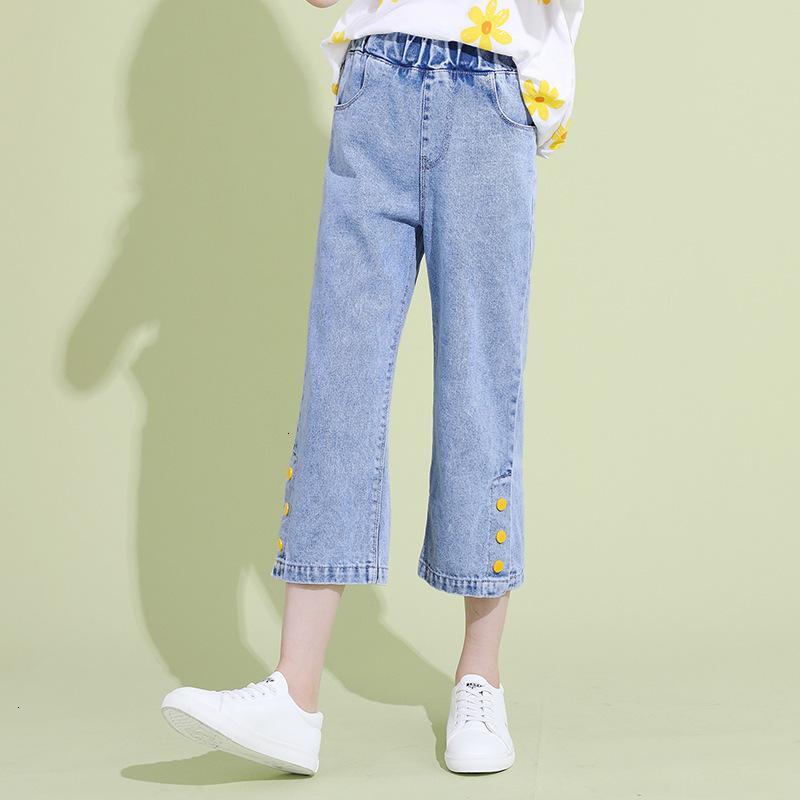 Mädchen Thin Capris 2021 Neue Kinder Sommer Jeans Mode Wide Beinhose
