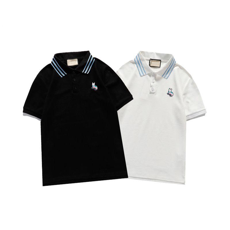 Hommes Designer Tshirt Polo Chemises à rayures Collier à manches courtes à manches courtes avec broderie de lapin de lettre