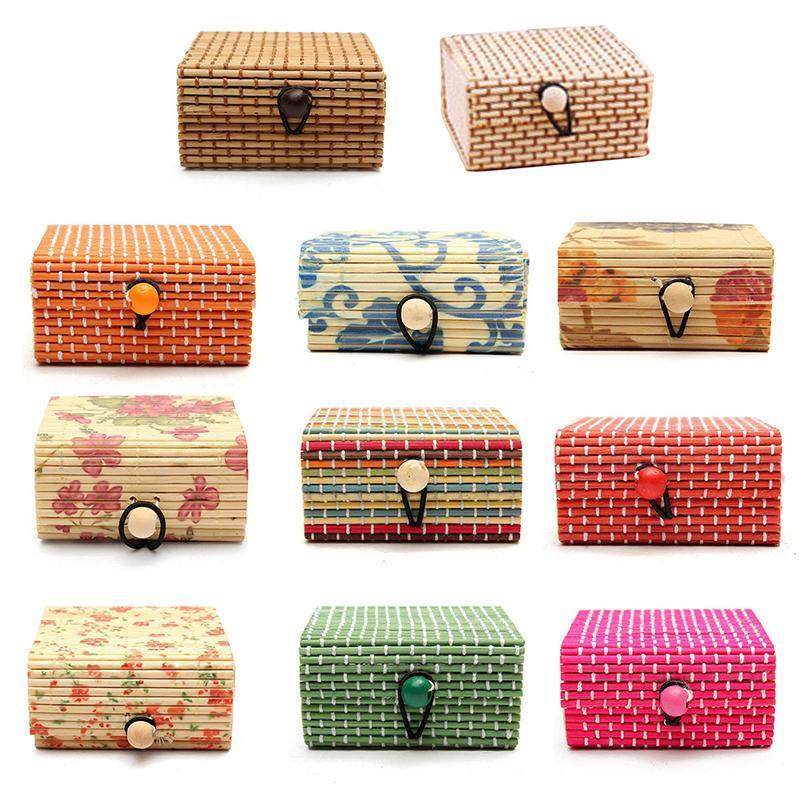 Saklama Kutuları Bineler 11 Renkler Yüksek Kaliteli Yüzük Kolye Küpe Bambu Ahşap Takı 1 adet