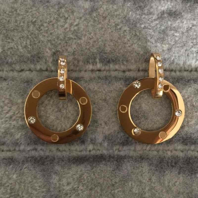 Weiße Steingold Silber Rose Farben Mode Stollen Schlammbohrer Klassische Design Ohrringe Edelstahl Ring Stil Liebe Frauen Schmuck Großhandel