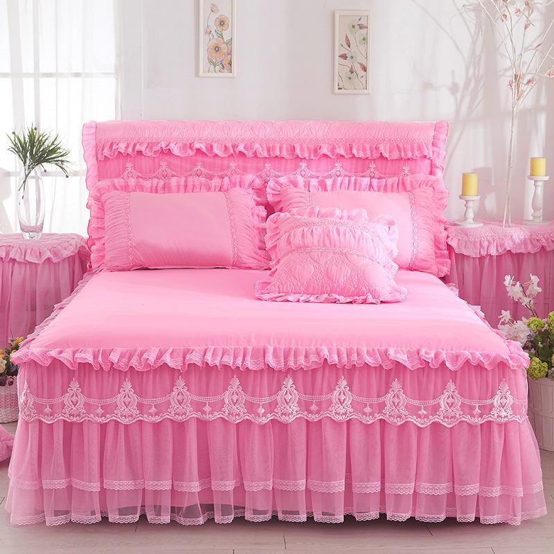 Lace Bedd Gonna Skirt Pillowcases Pink Romantico Matrimonio Ruffle Bed Bed Cover Principessa Copriletto Letto Lenzuolo Re Queen Twin Dimensioni Textile Casa 356 R2