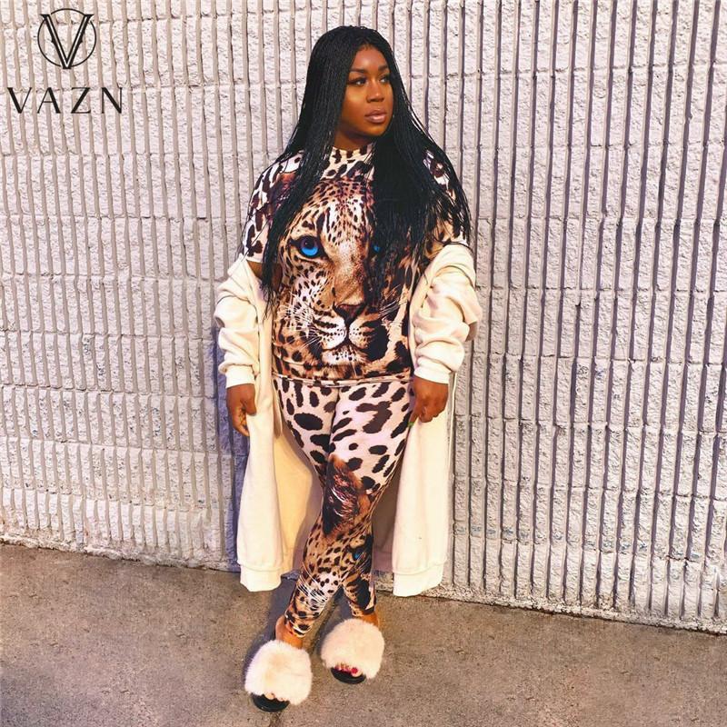 Été Casual Fashion Street Commuter Big Taille Guépard Imprimer Collier rond T-shirt Pantalon Deux Ensembles Pantalon Pièce Femme