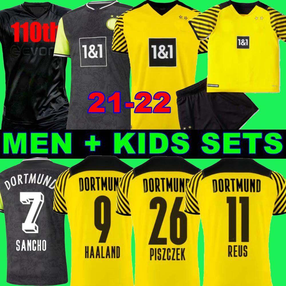 Fans Player 1990 Edición limitada Haaland Reus Borussia 21 22 4th Dortmund Soccer Jersey 2021 2012 Camisetas de fútbol Bellingham Sancho Hummels Piszczek Men + Kit Kit