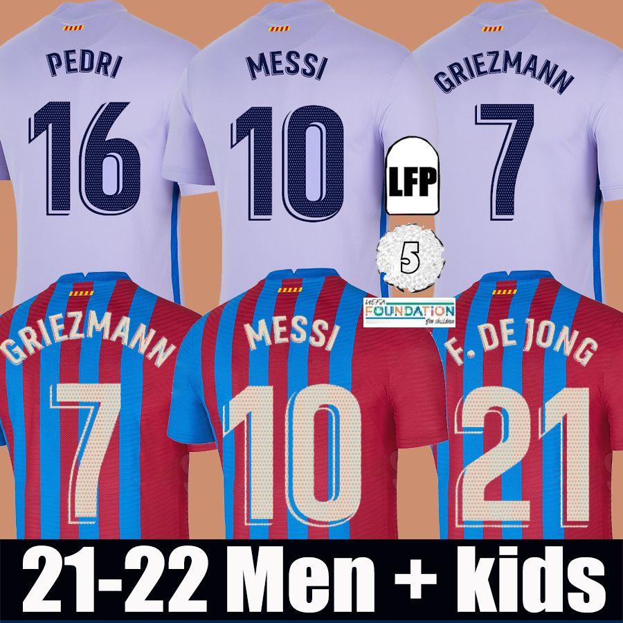 Barcelona Maglia da calcio BARCA 21 22 camiseta de futbol MESSI PEDRI ANSU FATI 2021 2022 GRIEZMANN F. DE JONG KUN AGUERO Emerson Eric Maillots de da uomo kit per bambini