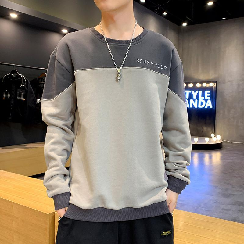 FLEECE FALE COLOR сопоставляя круглые шеи пуловер Корейский свободный с длинным рукавом футболка мужская молодежная главная пальто для весны