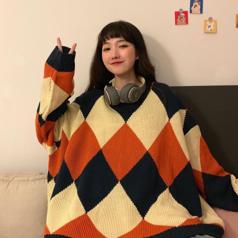 Collège Style Modifier Pull Diamant Contraste Contraste Tricoté Femmes Trend Sweaters Femmes