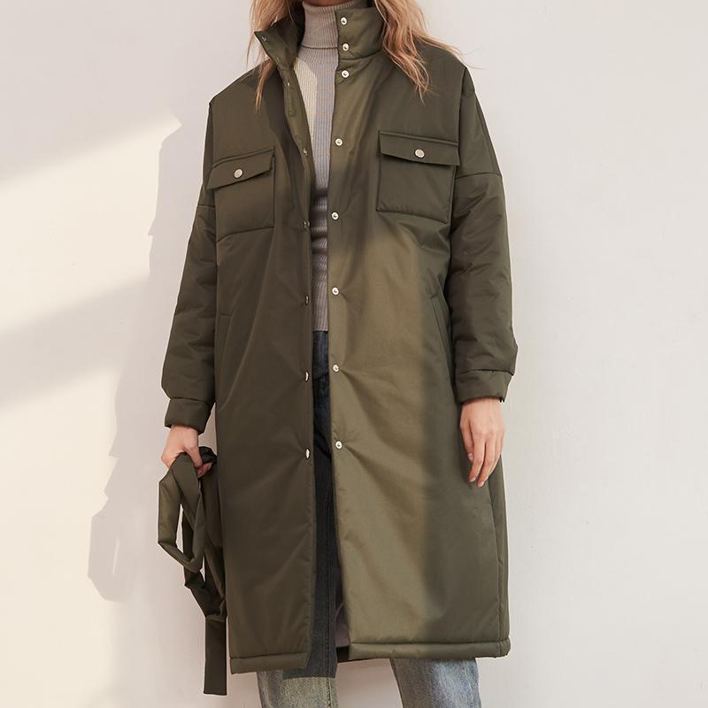 프론트 포켓 솔리드 파카 여성 패션 스탠드 칼라 코트 우아한 봄 간단한 긴 면화 자켓 여성 숙녀 여성