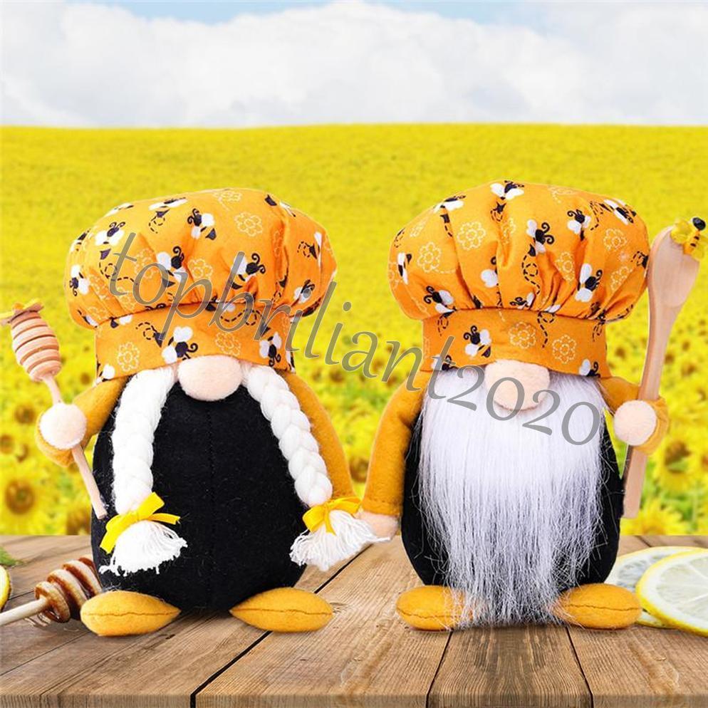 Bee chef gnomo bonecas homem mulher escandinavo mel abelha anão dona dona sem rosto abelha casa quinta cozinha decoração