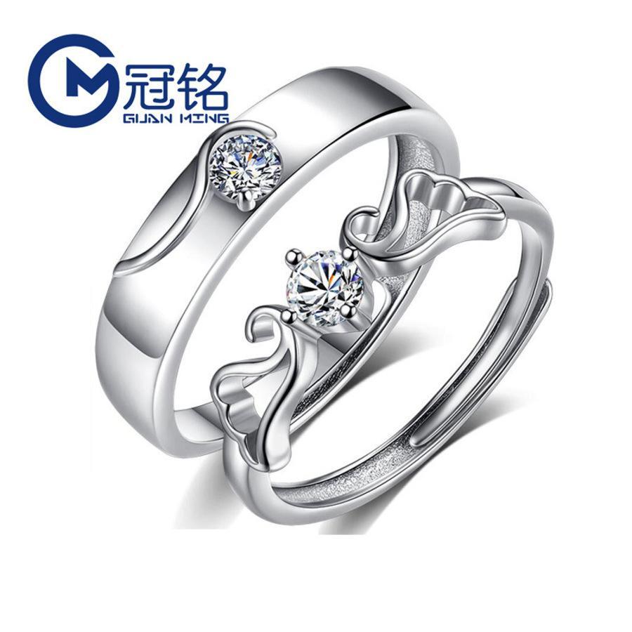 Casal de anjo guanming um par de s925 prata mão coreana simples homens e mulheres viver jóias wygh
