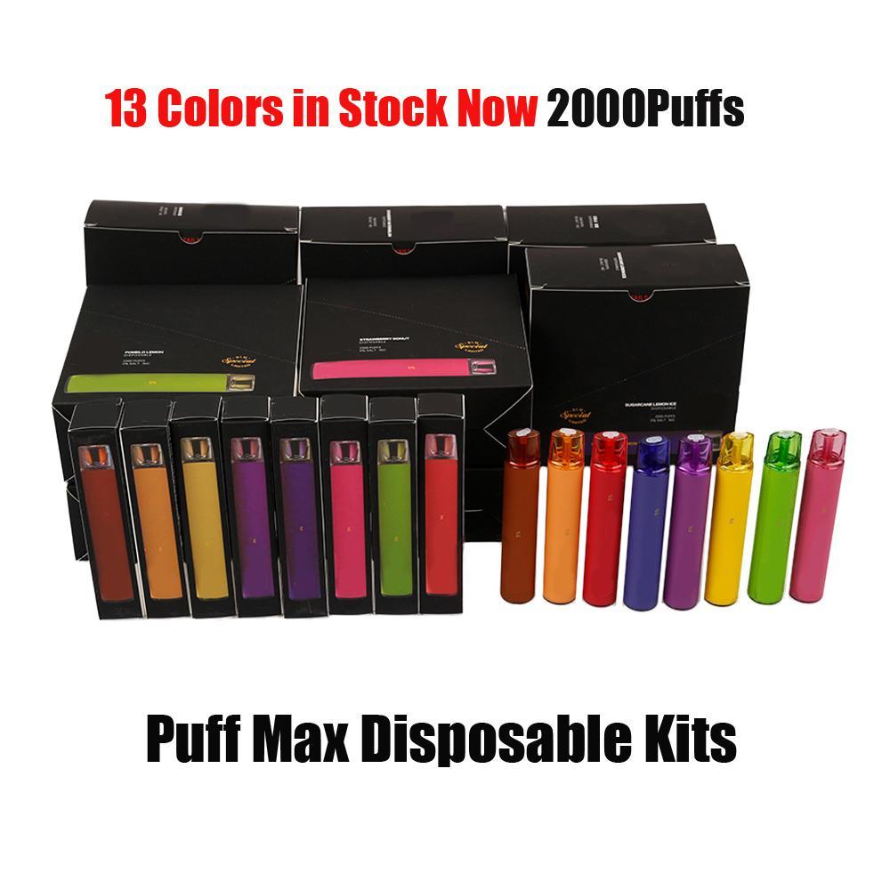 POD monouso puff max dispositivo di sigaretta elettronica 2000 sbuffi 1200mAh batteria 8.5ml cartuccia di cartuccia precompilata Penna Vas Bar Flex Bang XXL