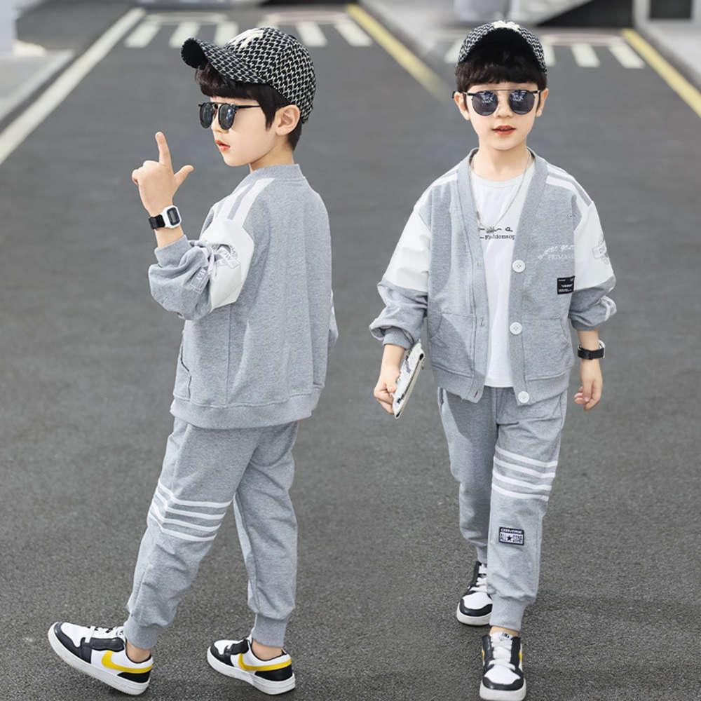 Vêtements enfants et automne Boys '2021 Printemps coréen Sports de loisirs Sports Deuxième Pièce Suppostic Université Chinese Chinois Université Enfant Style De style